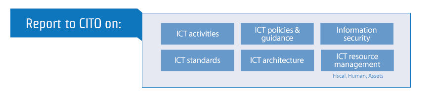 All Secretariat entities report to the CITO on issues relating to all ICT activities, resource management, standards, security, architecture, policies, and guidance